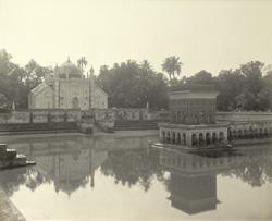 Burdwan - The mausoleum of Khoja Anwara (from across the tank)